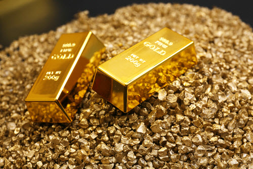 fine gold bar and gold nuggets